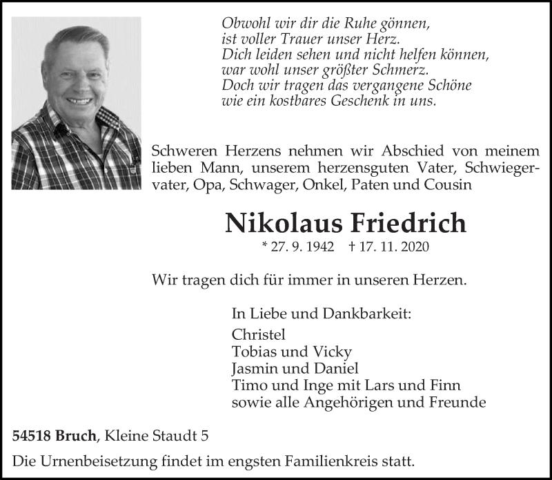Traueranzeige für Nikolaus Friedrich vom 21.11.2020 aus trierischer_volksfreund