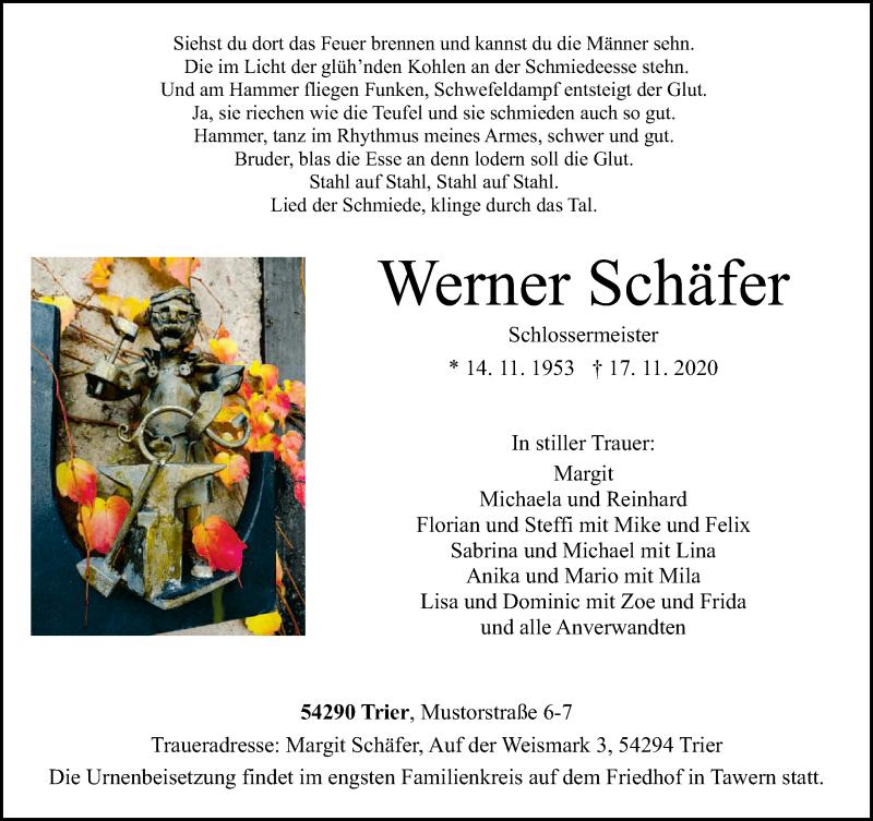 Traueranzeige für Werner Schäfer vom 21.11.2020 aus trierischer_volksfreund