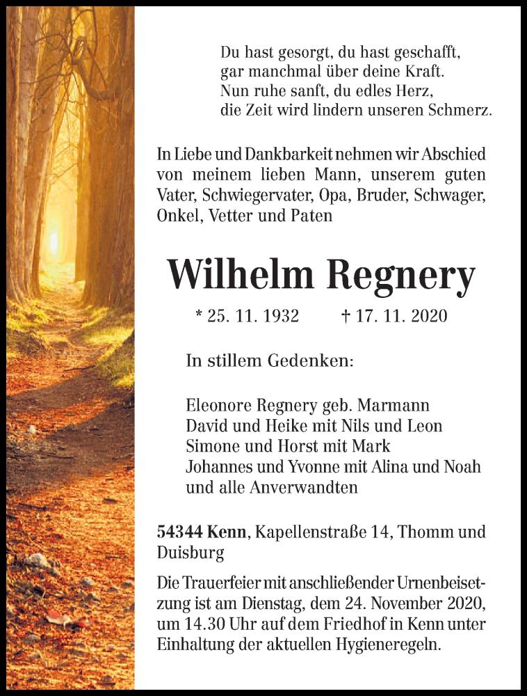 Traueranzeige für Wilhelm Regnery vom 21.11.2020 aus trierischer_volksfreund