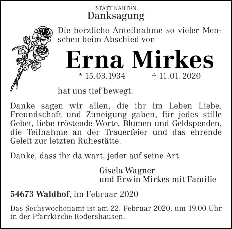 Traueranzeige für Erna Mirkes vom 15.02.2020 aus trierischer_volksfreund