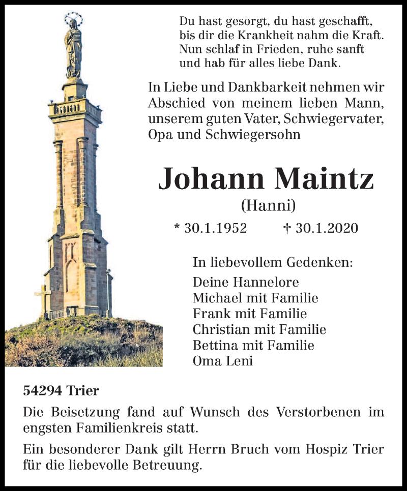 Traueranzeige für Johann Maintz vom 08.02.2020 aus trierischer_volksfreund