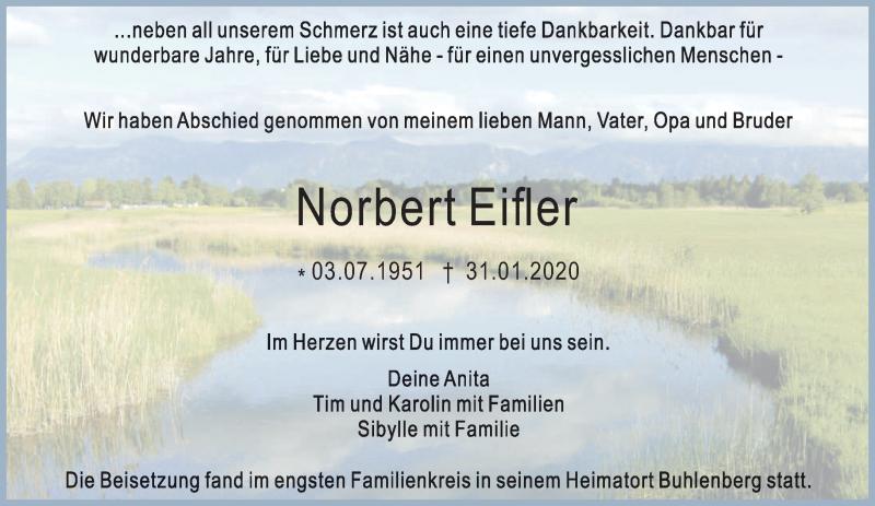 Traueranzeige für Norbert Eifler vom 08.02.2020 aus trierischer_volksfreund