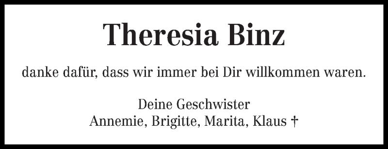 Traueranzeige für Theresia Binz vom 23.05.2020 aus trierischer_volksfreund