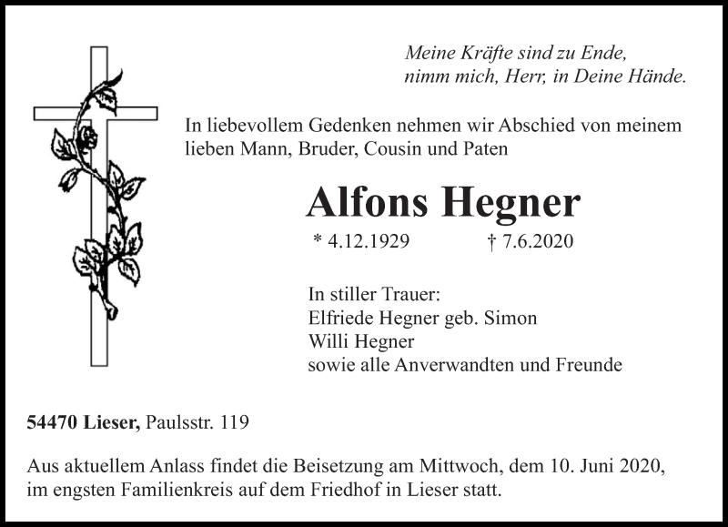 Traueranzeige für Alfons Hegner vom 09.06.2020 aus trierischer_volksfreund