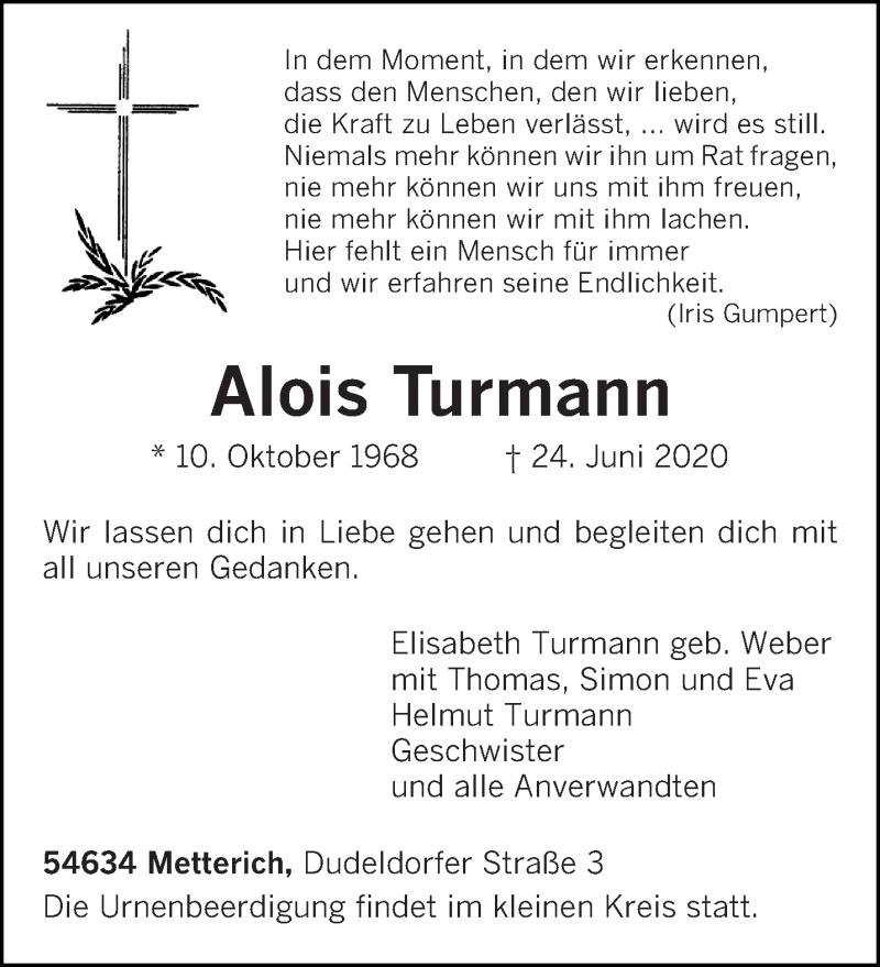 Traueranzeige für Alois Turmann vom 26.06.2020 aus trierischer_volksfreund