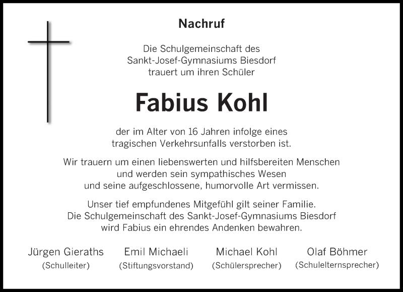 Traueranzeige für Fabius Kohl vom 27.06.2020 aus trierischer_volksfreund