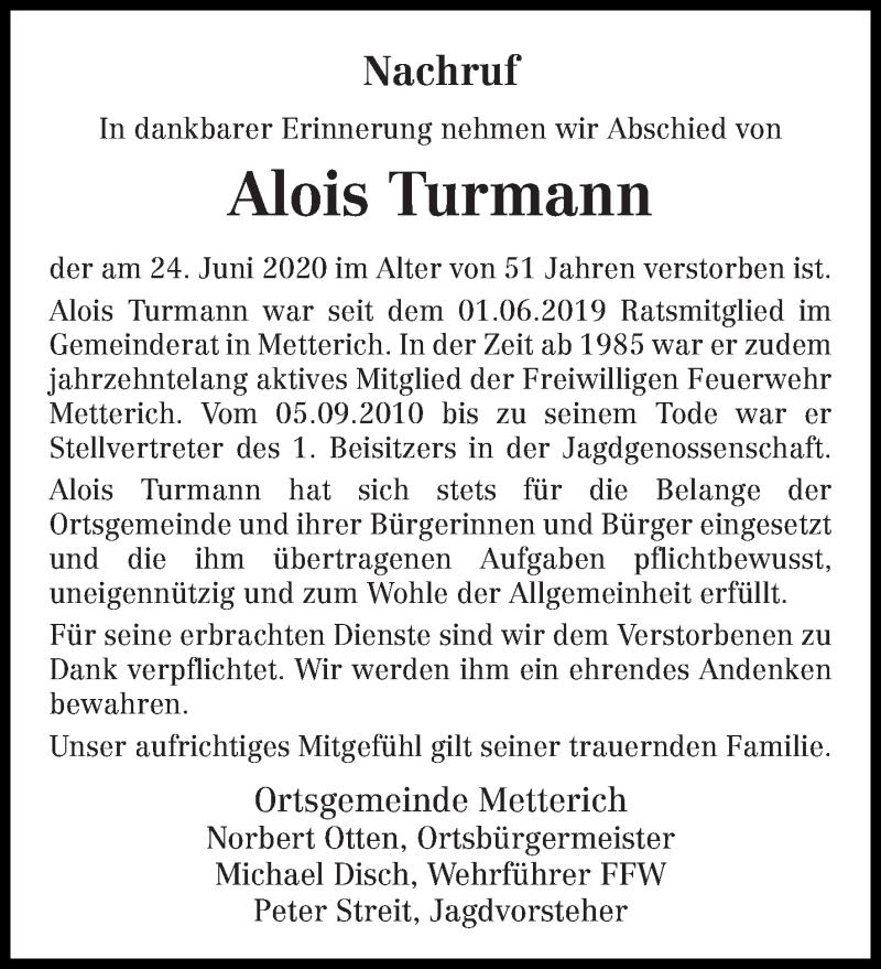 Traueranzeige für Alois Turmann vom 02.07.2020 aus trierischer_volksfreund