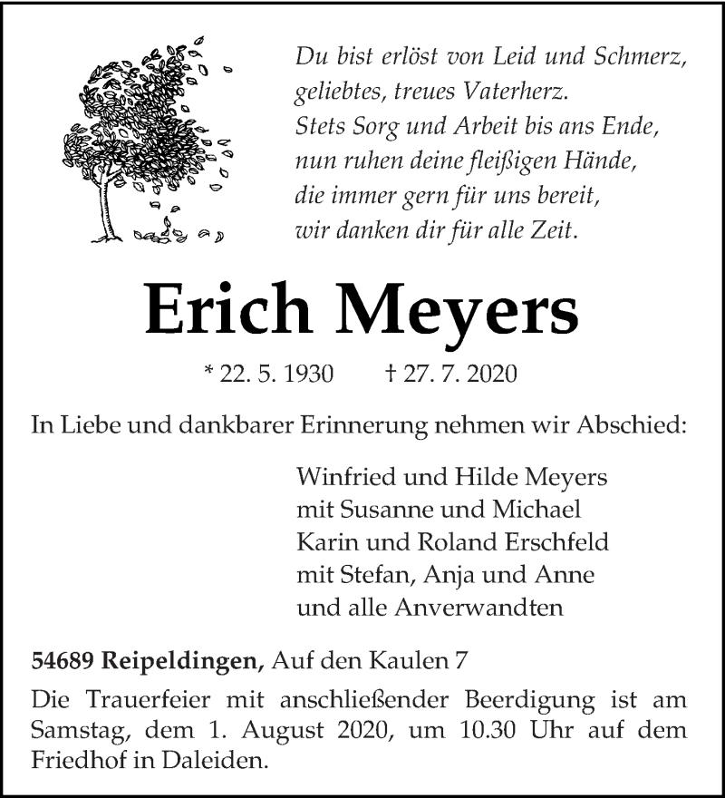 Traueranzeige für Erich Meyers vom 29.07.2020 aus trierischer_volksfreund