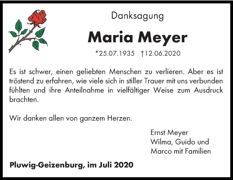 Traueranzeige für Maria Meyer vom 25.07.2020 aus trierischer_volksfreund