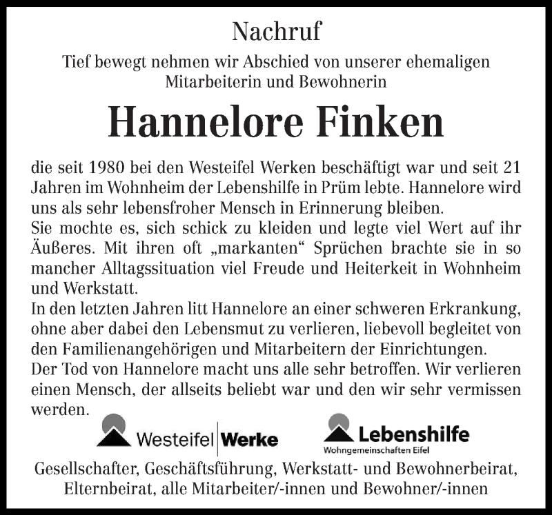 Traueranzeige für Hannelore Finken vom 31.07.2020 aus trierischer_volksfreund