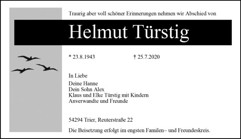 Traueranzeige für Helmut Türstig vom 01.08.2020 aus trierischer_volksfreund
