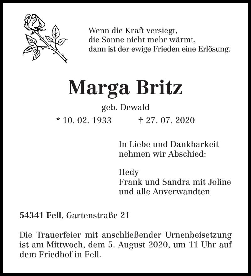 Traueranzeige für Marga Britz vom 01.08.2020 aus trierischer_volksfreund