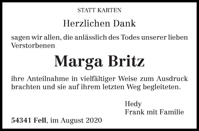 Traueranzeige für Marga Britz vom 22.08.2020 aus trierischer_volksfreund