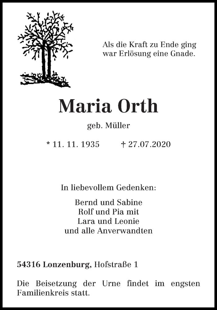 Traueranzeige für Maria Orth vom 01.08.2020 aus trierischer_volksfreund