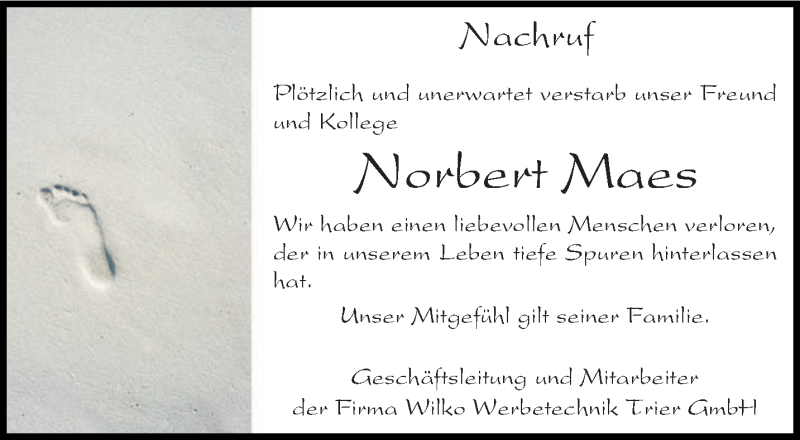Traueranzeige für Norbert Maes vom 01.08.2020 aus trierischer_volksfreund