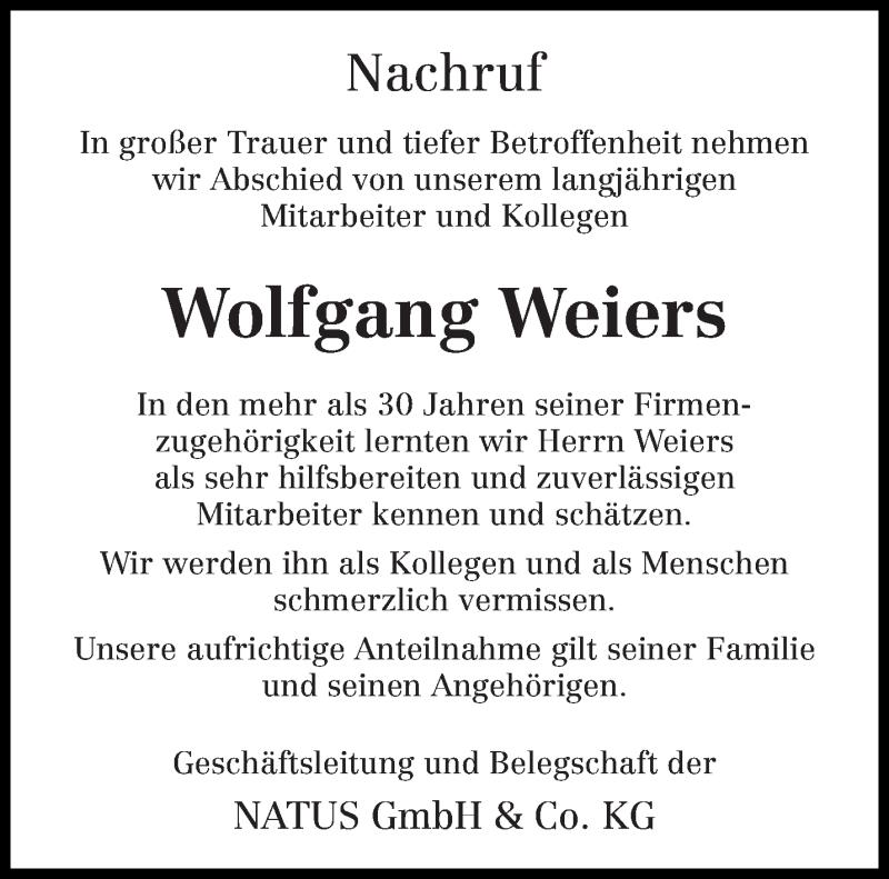 Traueranzeige für Wolfgang Weiers vom 31.07.2020 aus trierischer_volksfreund