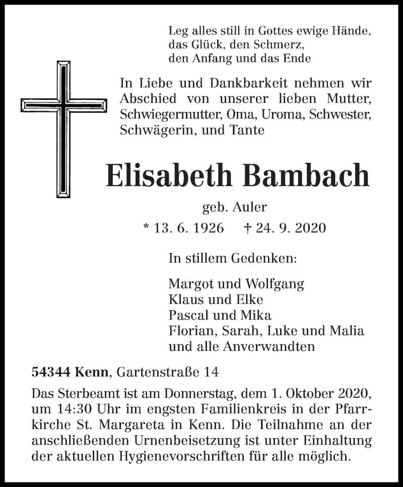 Todesanzeige von  Elisabeth Bambach