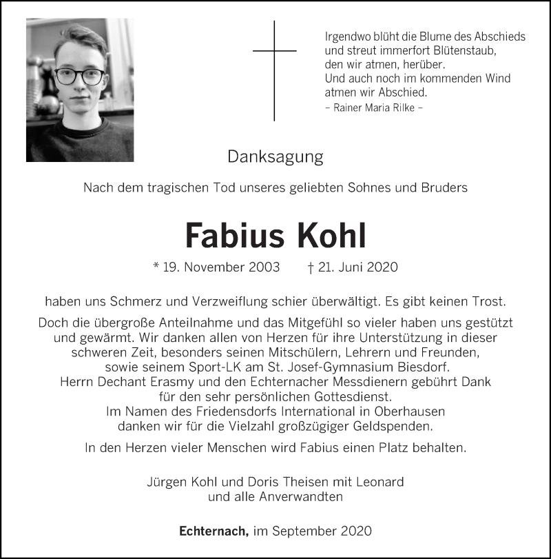 Traueranzeige für Fabius Kohl vom 26.09.2020 aus trierischer_volksfreund