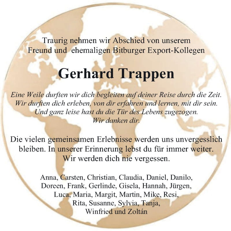 Traueranzeige für Gerhard Trappen vom 26.09.2020 aus trierischer_volksfreund