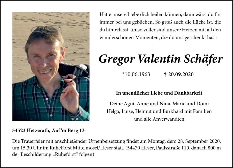 Traueranzeige für Gregor Valentin Schäfer vom 23.09.2020 aus trierischer_volksfreund