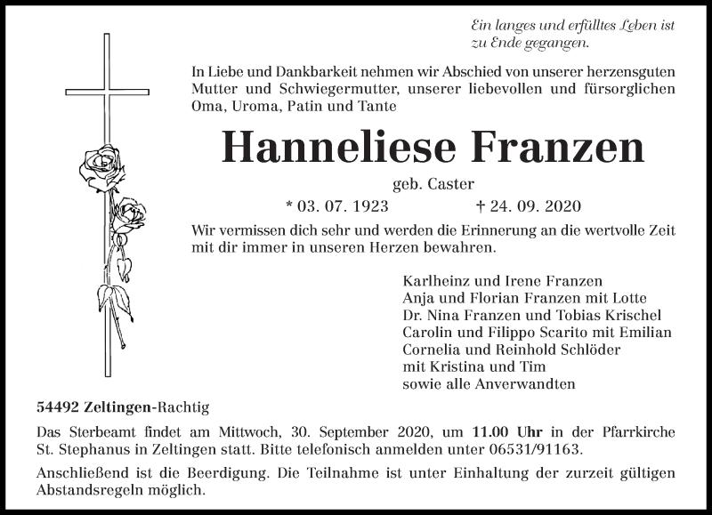 Todesanzeige von  Hanneliese Franzen