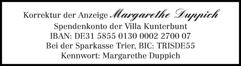 Traueranzeige für Margarethe Duppich vom 03.09.2020 aus trierischer_volksfreund
