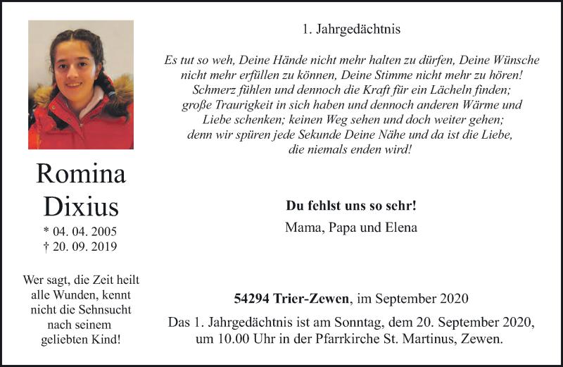 Traueranzeige für Romina Dixius vom 19.09.2020 aus trierischer_volksfreund