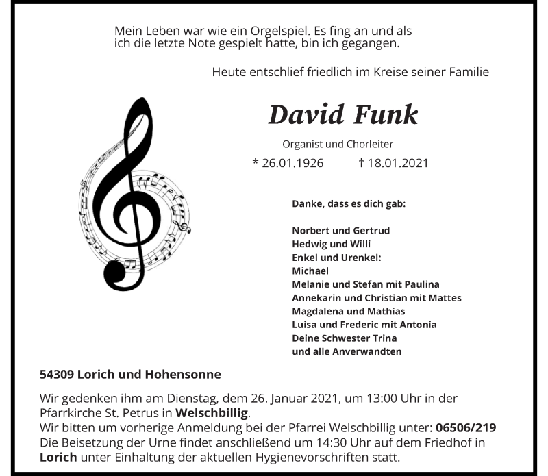 Traueranzeige für David Funk vom 23.01.2021 aus trierischer_volksfreund