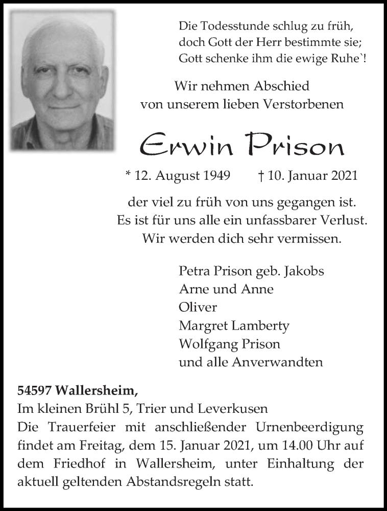 Traueranzeige für Erwin Prison vom 13.01.2021 aus trierischer_volksfreund
