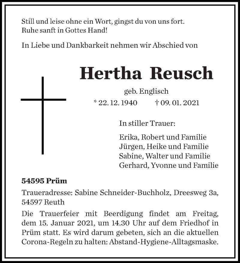 Traueranzeige für Hertha Reusch vom 13.01.2021 aus trierischer_volksfreund