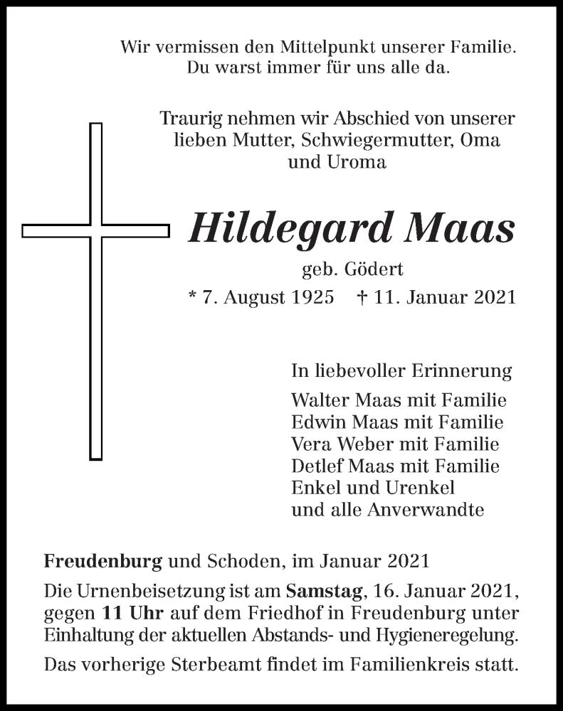 Traueranzeige für Hildegard Maas vom 13.01.2021 aus trierischer_volksfreund