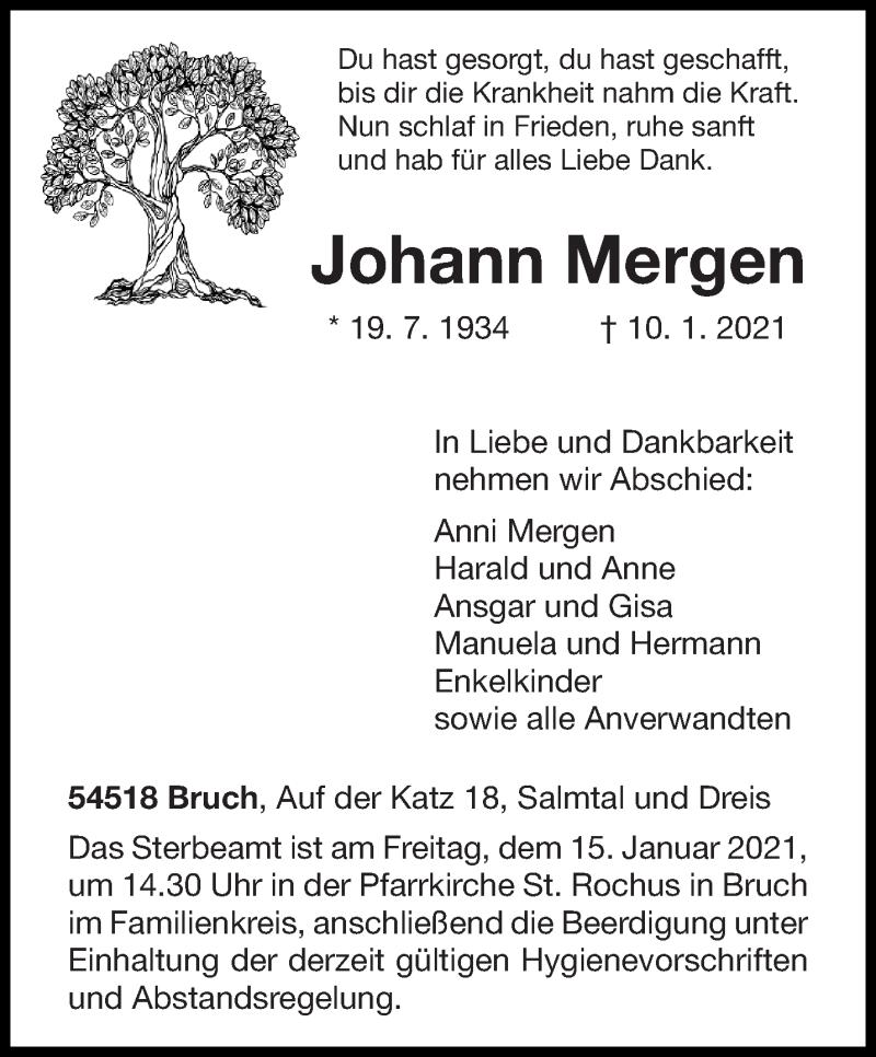 Traueranzeige für Johann Mergen vom 13.01.2021 aus trierischer_volksfreund