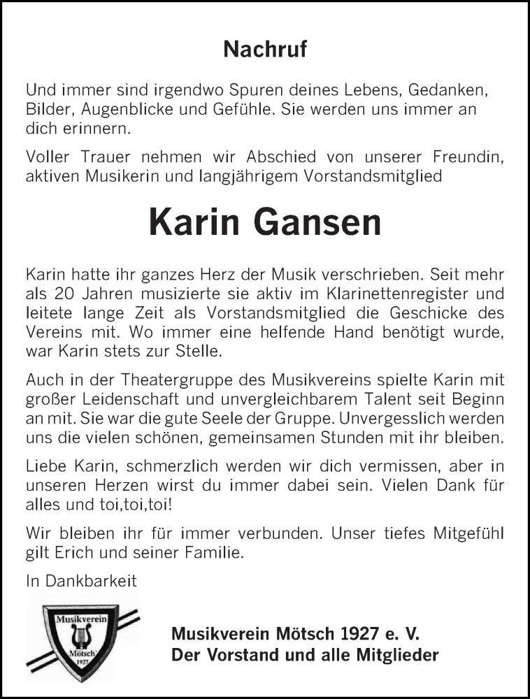 Traueranzeige für Karin Gansen vom 18.01.2021 aus trierischer_volksfreund