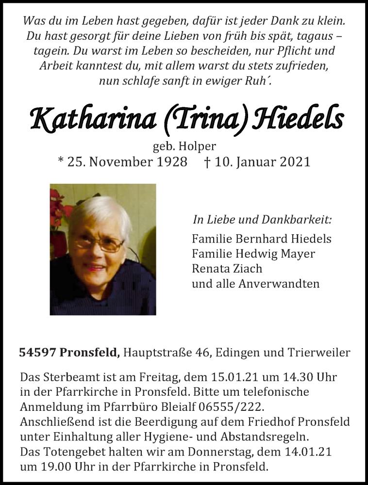 Traueranzeige für Katharina Hiedels vom 13.01.2021 aus trierischer_volksfreund