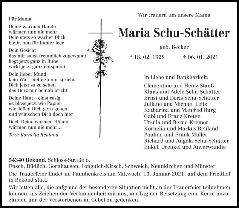 Traueranzeige für Maria Schu-Schätter vom 11.01.2021 aus trierischer_volksfreund