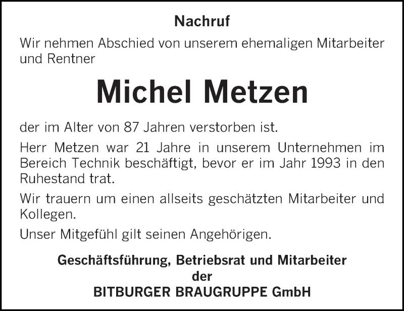 Traueranzeige für Michel Metzen vom 13.01.2021 aus trierischer_volksfreund