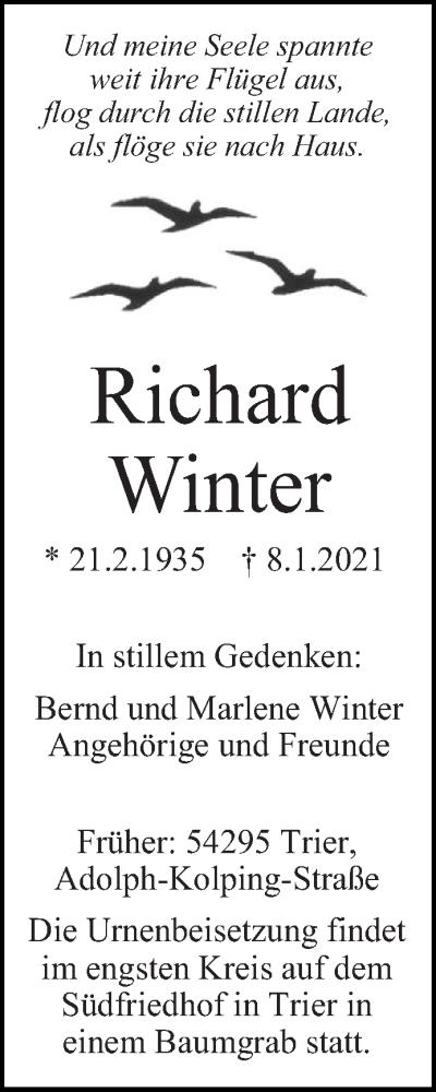 Traueranzeige für Richard Winter vom 13.01.2021 aus trierischer_volksfreund