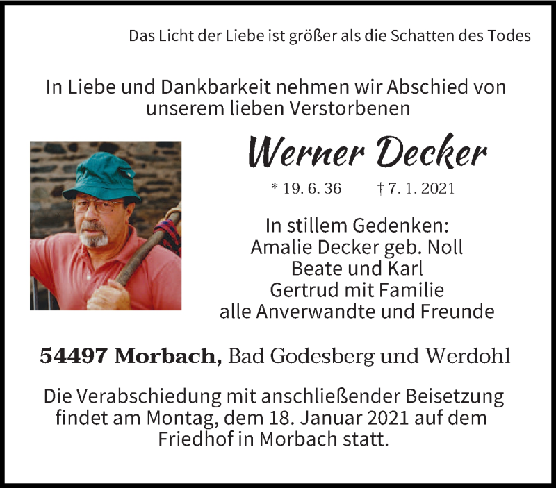 Traueranzeige für Werner Decker vom 11.01.2021 aus trierischer_volksfreund
