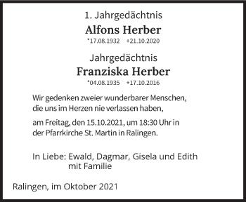 Traueranzeige von Alfons und Franziska Herber von trierischer_volksfreund