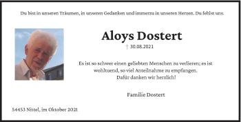 Traueranzeige von Aloys Dostert von trierischer_volksfreund