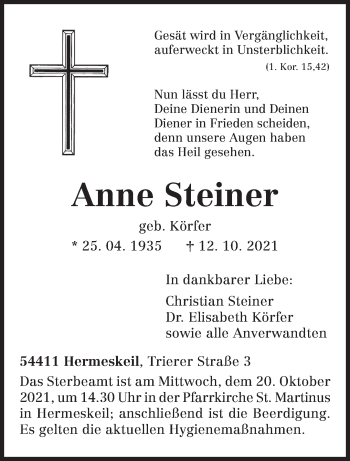 Traueranzeige von Anne Steiner von trierischer_volksfreund