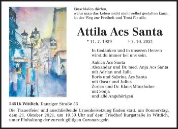 Traueranzeige von Attila Acs Santa von trierischer_volksfreund