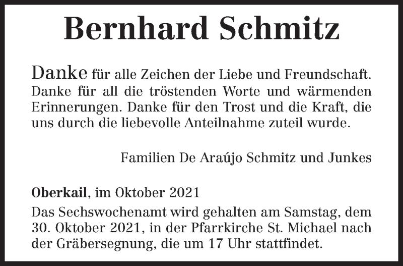 Traueranzeige für Bernhard Schmitz vom 27.10.2021 aus trierischer_volksfreund