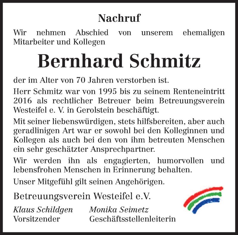 Traueranzeige für Bernhard Schmitz vom 16.10.2021 aus trierischer_volksfreund