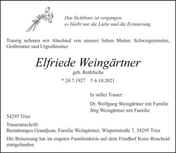 Traueranzeige von Elfriede Weingärtner von trierischer_volksfreund