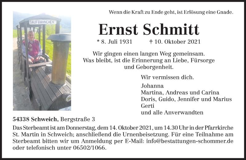 Traueranzeige für Ernst Schmitt vom 12.10.2021 aus trierischer_volksfreund