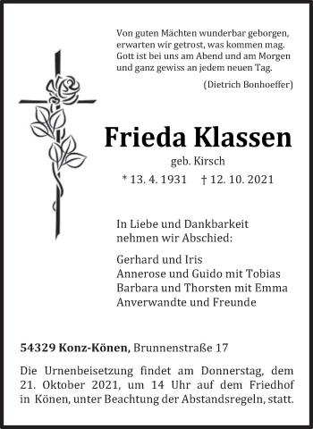 Traueranzeige von Frieda Klassen von trierischer_volksfreund