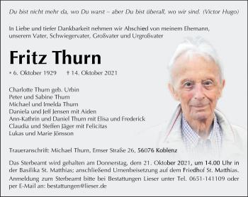 Traueranzeige von Fritz Thurn von trierischer_volksfreund