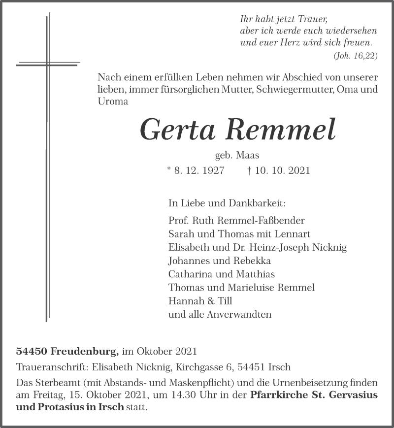 Traueranzeige für Gerta Remmel vom 13.10.2021 aus trierischer_volksfreund
