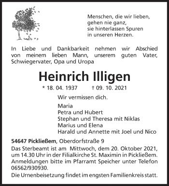 Traueranzeige von Heinrich Illigen von trierischer_volksfreund